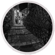 Medieval Village Of Eze, Provence - Black And White - Series 15 Of 16 Round Beach Towel