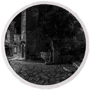 Medieval Village Of Eze, Provence - Black And White - Series 3 Of 16 Round Beach Towel