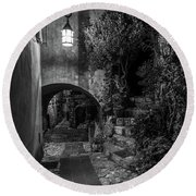 Medieval Village Of Eze, Provence - Black And White - Series 4 Of 16 Round Beach Towel