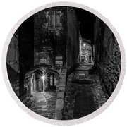 Medieval Village Of Eze, Provence - Black And White - Series 5 Of 16 Round Beach Towel
