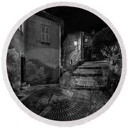 Medieval Village Of Eze, Provence - Black And White - Series 6 Of 16 Round Beach Towel