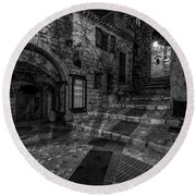 Medieval Village Of Eze, Provence - Black And White - Series 7 Of 16 Round Beach Towel