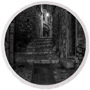 Medieval Village Of Eze, Provence - Black And White - Series 8 Of 16 Round Beach Towel