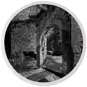 Medieval Village Of Eze, Provence - Black And White - Series 9 Of 16 Round Beach Towel