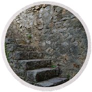 Medieval Wall Staircase Round Beach Towel