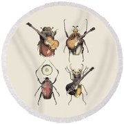 Meet The Beetles Round Beach Towel