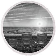 Round Beach Towel featuring the photograph Memories In Black And White by Lynn Bauer