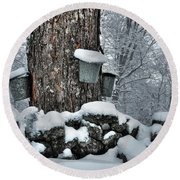 Round Beach Towel featuring the photograph Memories Of Sugaring by Wayne King
