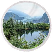 Round Beach Towel featuring the photograph Mendenhall Glacier 1 by Dawn Richards