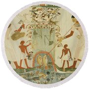 Menna And Family Hunting In The Marshes, Tomb Of Menna Round Beach Towel
