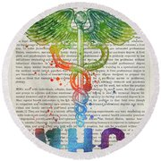Mental Health Counselor Gift Idea With Caduceus Illustration 03 Round Beach Towel