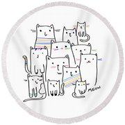 Meow Kitties - Baby Room Nursery Art Poster Print Round Beach Towel