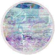 Mermaid Dream - Bright Pastel Tone Purple And White Abstract Art Round Beach Towel