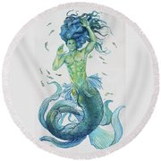 Merman Clyde Round Beach Towel