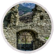 Round Beach Towel featuring the photograph Mesocco Castle Gate With Mountains by Dawn Richards
