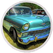 Metallic Green 1956 Chevy Sedan Round Beach Towel