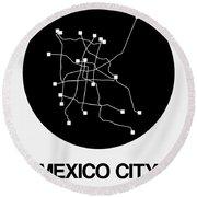 Mexico City Black Subway Map Round Beach Towel