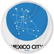 Mexico City Blue Subway Map Round Beach Towel