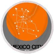 Mexico City Orange Subway Map Round Beach Towel