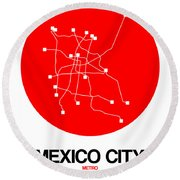 Mexico City Red Subway Map Round Beach Towel