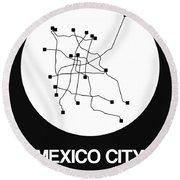 Mexico City White Subway Map Round Beach Towel