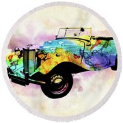 Mg Vintage Car Colorful Watercolor Round Beach Towel