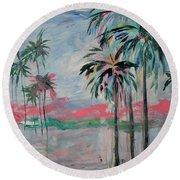 Miami Palms Round Beach Towel