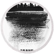 Miami Skyline Brush Stroke Black Round Beach Towel