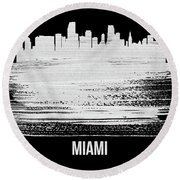 Miami Skyline Brush Stroke White Round Beach Towel