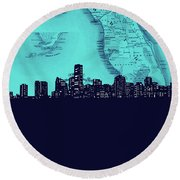 Miami Skyline Map Turquoise Round Beach Towel