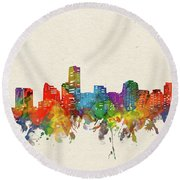 Miami Skyline Watercolor Round Beach Towel