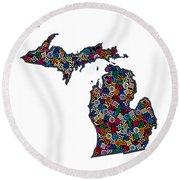 Michigan Map - 1 Round Beach Towel