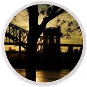 Mid Autumn Silhouette Round Beach Towel