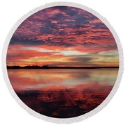 Mid October Sunset Round Beach Towel