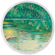 Mid-spring On The New River Round Beach Towel