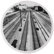 Middle Of The Tracks Round Beach Towel