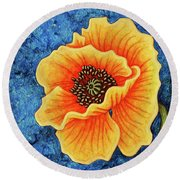 Round Beach Towel featuring the painting Midnight Flame by Amy E Fraser