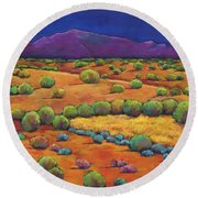 Midnight Sagebrush Round Beach Towel