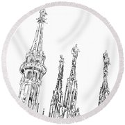 Milan Cathedral Spires Drawing Round Beach Towel