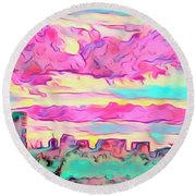 Mile High Sunset Round Beach Towel