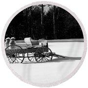 Round Beach Towel featuring the photograph Milk Wagon Monochrome by Wayne King