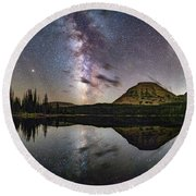 Milky Way At Mirror Lake Round Beach Towel