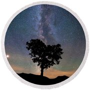 Milky Way, Mars And Heart Tree 3/4 Crop Round Beach Towel