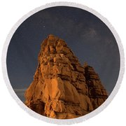 Milky Way On The Rocks Round Beach Towel