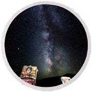 Milky Way Over Mojave Desert Graffiti 1 Round Beach Towel