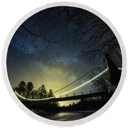 Milky Way Over The Wire Bridge Round Beach Towel