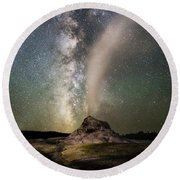 Milky Way Over White Dome Round Beach Towel