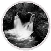 Round Beach Towel featuring the photograph Mill Falls Monochrome by Wayne King