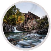 Mill On Crystal River Round Beach Towel