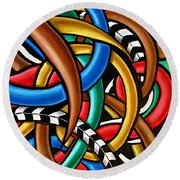 Mind Games - Abstract Art Painting - Intuitive Energy Art - Ai P. Nilson Round Beach Towel
